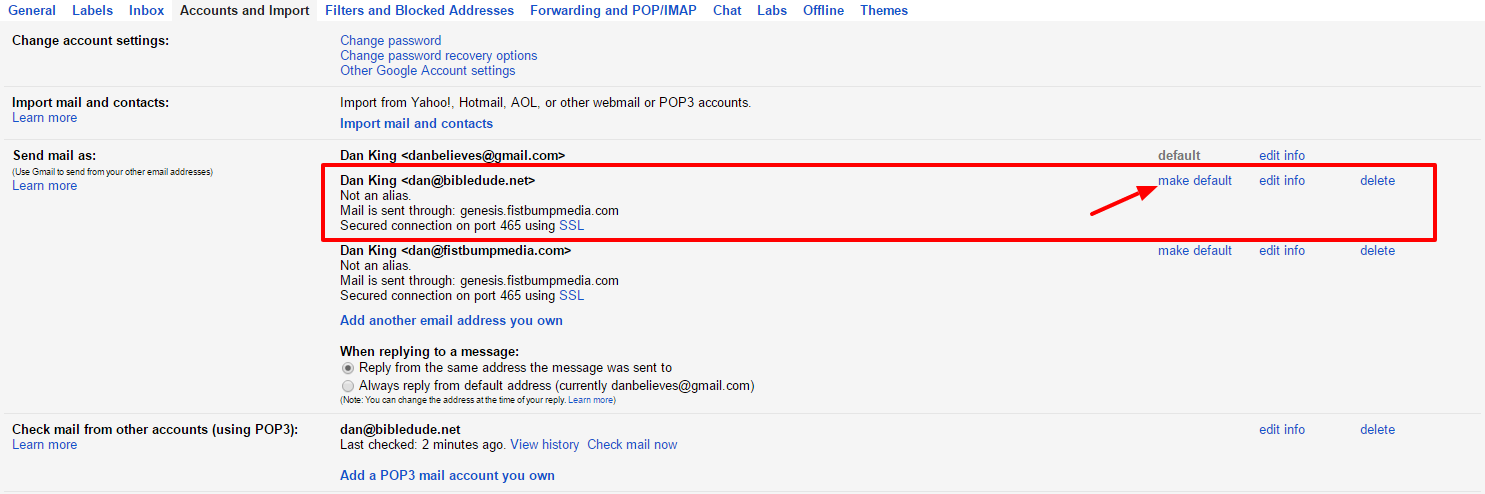 make one gmail account default